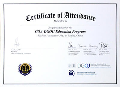 李凯主任向COA提交的全英文学术论文荣获COA专业认证证书